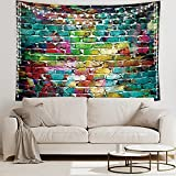 ❤Material and Size: Polyester fabric,60x80inch(210x150cm) ❤Design: Colorful Graffiti Theme, Colorful brick pattern, green and yellow color. Cool and fashion. ❤What's Included: One Tapestry ❤Apply: Great for Wall hangings, Dorm Decorations, Beach Thro...