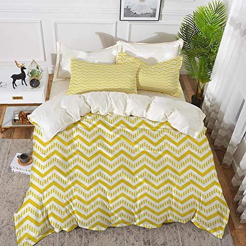ropa de cama - Juego de funda nórdica, decoración amarilla, Chevron Abstract Zig Zag Pattern Striped Cool Geometric 90s Style Art, Whit, Funda de edredón de microfibra hipoalergénica con 2 fundas de a