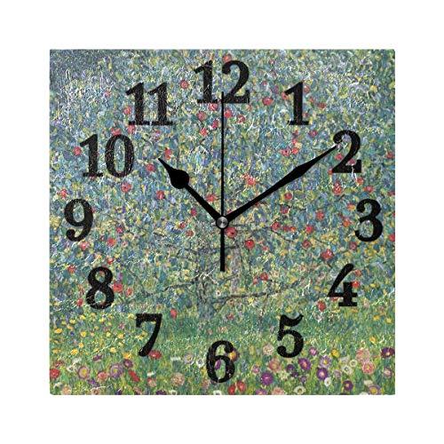 Ahomy Wanduhr, groß, quadratisch, Obstbaum, Gustav Klimt, Ziffernuhr, geräuschlos, dekorativ für Zuhause, Büro, Wohnzimmer, Schlafzimmer