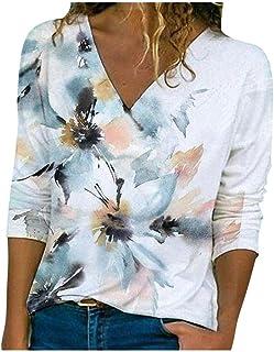 Hevoiok Damen Oberteile Mode Sexy Freizeit Herbst V Ausschnitt Hemdbluse Einfarbig Tasche Langarm Bluse Tops T-Shirt