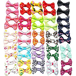 Chenkou Craft 50pcs(25pairs) Dog Cat Hair Bows with Clips Pet Grooming Bows Products Mix Colors Varies Patterns Pet Hair Bows Dog 1 5/8″ x 1″ (40x25mm) (Clip Style)