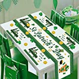 St Patrick's Day Table Runner and Placemat Table Mats 1 Pc Shamrock Table Runner and 4 PCS Table Placemats with Green Checkered Table Mats Set for St.Patty's Day Spring Party Daily Use