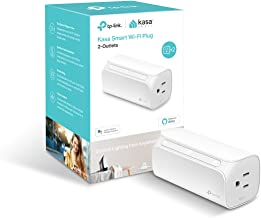 TP-LINK Kasa 2-Outlet Smart Wi-Fi Plug, No Hub Required, Works with Alexa and Google (HS107), 1-Pack, White
