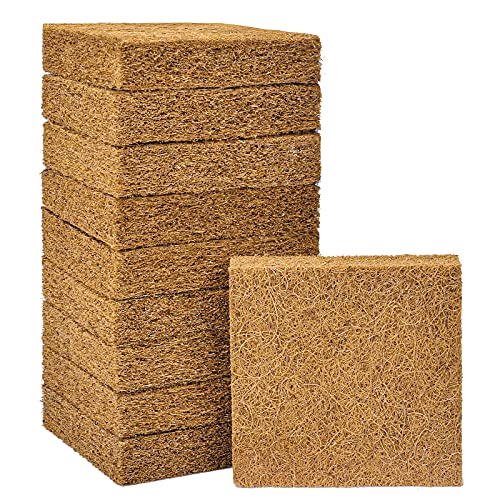 Natural Coir Grow Mat, 100% Organic Premium Coconut Fiber Hydroponics Grow Pats, Coir Plant Cover, Plant & Seed Germination, Perfect for Microgreens, Wheatgrass, Sprouts, 10 Packs