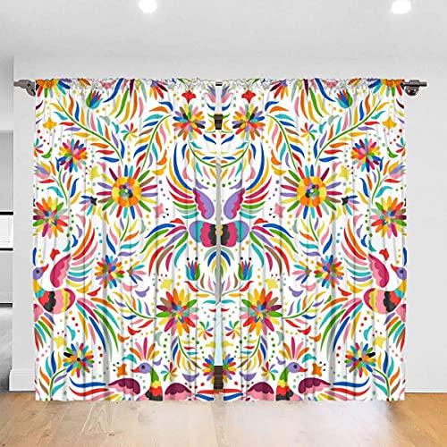 Cortina de oscurecimiento de habitación de flores bordada mexicana, cortinas de bloqueo de calor, cortinas de privacidad, cortinas de ventana con arandela superior, cortinas duraderas para dormitorio,