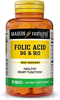 Mason Natural, Heart Formula B6/B12/Folic Acid Tablets, 90-Count Bottles (Pack of 3), Dietary Supplement Supports Cardiovascular Health, Red Blood Cell Formation, Metabolic Function