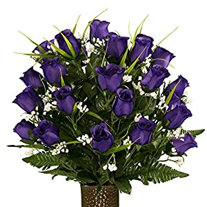Sympathy Silks Artificial Cemetery Flowers – Realistic – Outdoor Grave Decorations – Purple Rose with Lily Grass