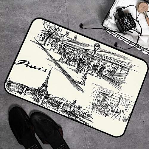 Tapis de bain Tapisde douche en microfibre,Décor de la Tour Eiffel, Paris Sketch Style Cafe Restaurant Landmark Canal Boa,Tapis de cuisine Antidérapant Tapis de salle de bain Tapis de sol 45cmx75 cm
