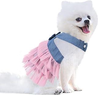 AOFITEE Tutu Dog Dress Pet Puppy Bowknot Princess Skirt, Spring Summer Denim Dog Vest Shirts Sundress, Sweet Wedding Party...