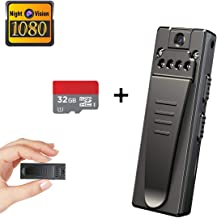 Mini Spy Hidden Camera, Full HD 1080P Portable Mini Nanny Cam with Night Vision and Portable Pocket Clip Wearable Body Camera Video Recorder,Small Security Camera for Home and Office(with 32G Card)