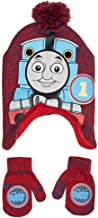 Thomas The Tank Engine Train Premium Peruvian Beanie Winter Hat & Mittens Set Red