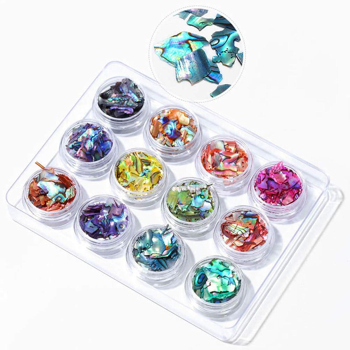 干渉する魅了するゴージャスMurakush 12個ネイル装飾品シェルピース色とりどりのアワビピースミラージュピース BKT01