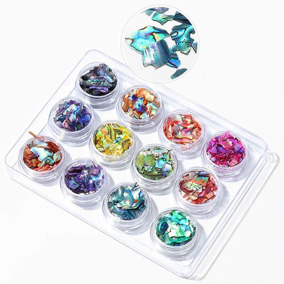 うぬぼれたカラスサイクルMurakush 12個ネイル装飾品シェルピース色とりどりのアワビピースミラージュピース BKT01