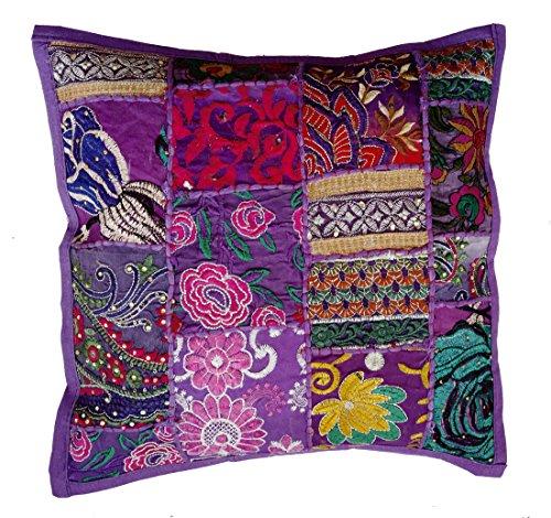 Rastogi Handicrafts Cojín de patchwork hecho a mano, Sari Patch Throw Pillow Indian Ethnic Fundas de almohada bordadas Sari Patchwork Funda de cojín (morado)