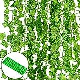 O'woda Plantas Hiedra Artificial (12pcsx2m), con 100pcs Bridas para Cables, Guirnalda de Hiedra Artificial para Decoración de Bodas, Fiestas, Jardín y Hogar, Ventana Escalera Exterior