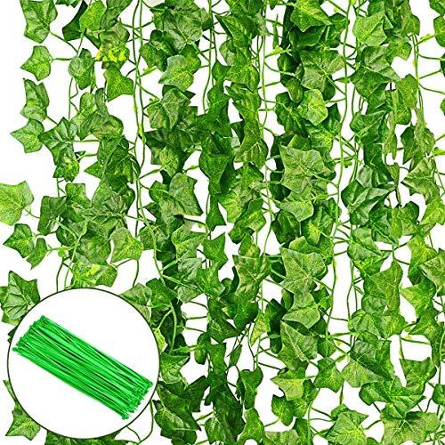 O'woda 12 Stück Künstlich Efeu (Jede Länge ca. 2 m), 80 Blätter, mit 100 Stück Nylon Kabelbinder, Pflanzen Efeuranke, Balkon Blätter Zäune Sichtschutz, für Hochzeit Party Garten Wohnung Deko