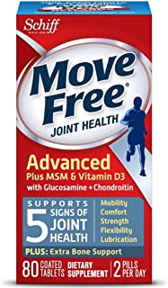 Move Free Advanced Plus MSM and Vitamin D3, 80 tablets - Joint Health Supplement with Glucosamine and Chondroitin (Pack of 5)