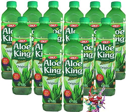 yoaxia ® - [ 12x 1,5 Literl ] OKF Aloe Vera King Getränk mit 30% Aloe / Natural / Aloe Vera Drink / inkl. 12x€0,25 Einwegpfand + ein kleines Glückspüppchen - Holzpüppchen
