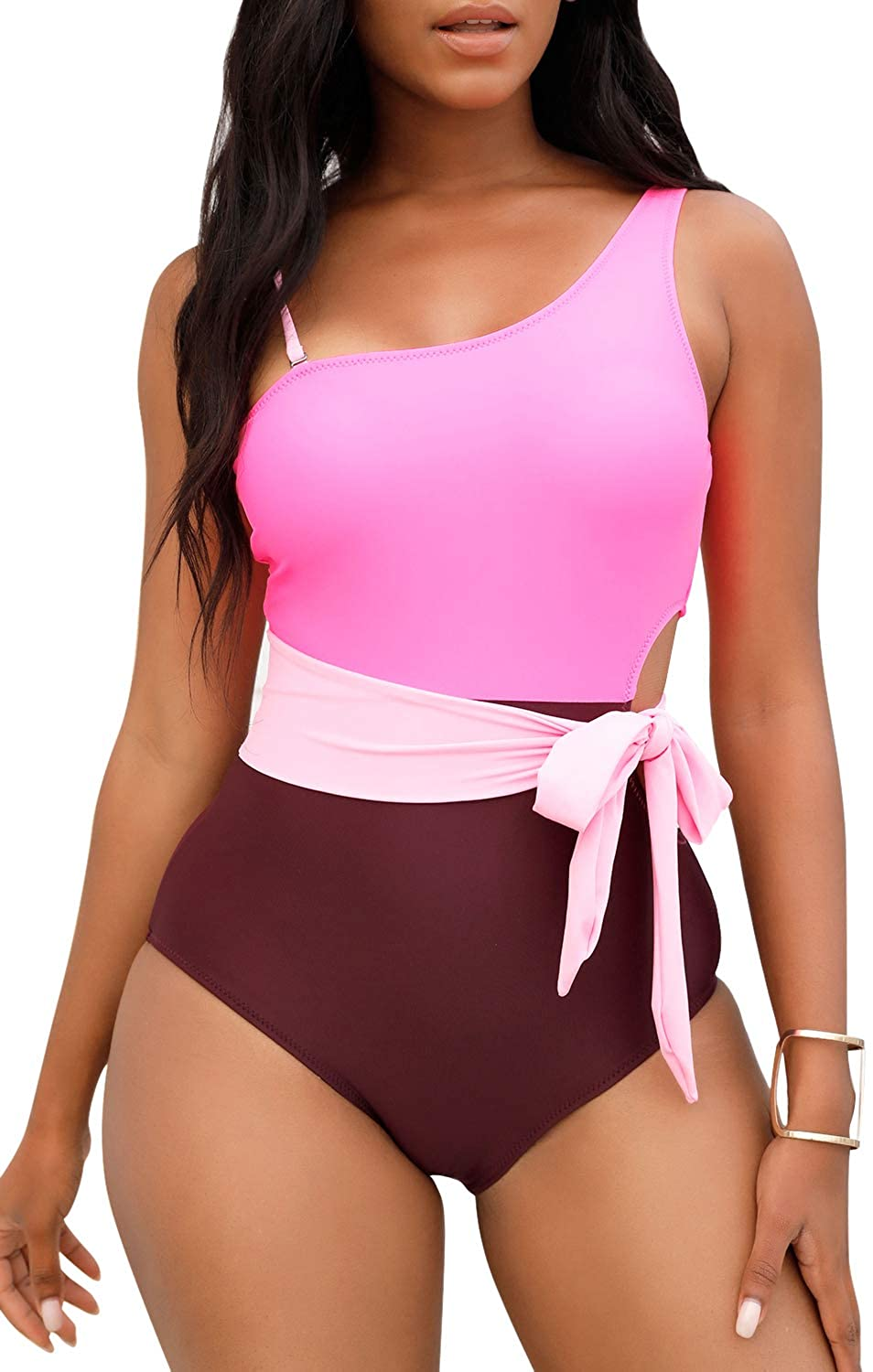 Womens One Piece Swimsuits Cutout Lace Up Padded Vintage Sexy High Cut One Shoulder Monokini Bathing Suits