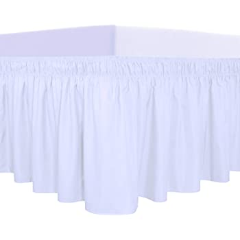 PureFit Wrap Around Ruffled Bed Skirt with Adjustable Elastic Belt - 14 Inch Drop Easy to Put On, Wrinkle Free Bedskirt Dust Ruffles, Bed Frame Cover for Twin, Twin XL and Full Size Beds, White