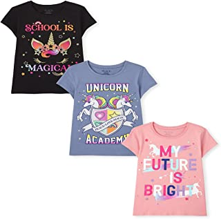 The Children's Place Girls' Short Sleeve School Graphic T-Shirt 3-Pack
