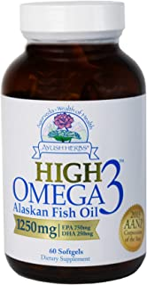 Ayush Herbs High Omega-3 Herbal Supplement for Brain, Heart, and Joint Health, Omega-3 Alaskan Fish Oil Supplements for Me...