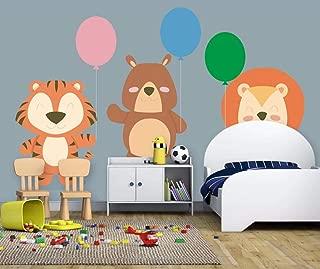 3D Wall Wallpaper Stickers Murals Decorations Cute Cartoon Animal Lion Cub Balloon Living Room Sofa Bedroom Background Home Decoration Art Kids Kitchen (W)140x(H)100cm