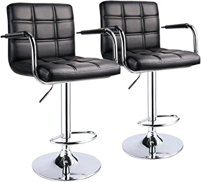 Sensational Amazon Com Modern Square Pu Leather Adjustable Bar Stools Onthecornerstone Fun Painted Chair Ideas Images Onthecornerstoneorg