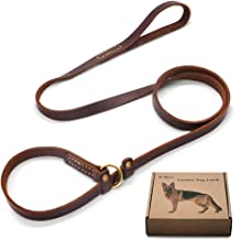 Wellbro Real Leather Slip Lead Dog Leash, Adjustable Stitched Pet Slip Leads with Slider, Heavy Duty Flat Dog Training Leashes for Medium and Large Dogs,Brown