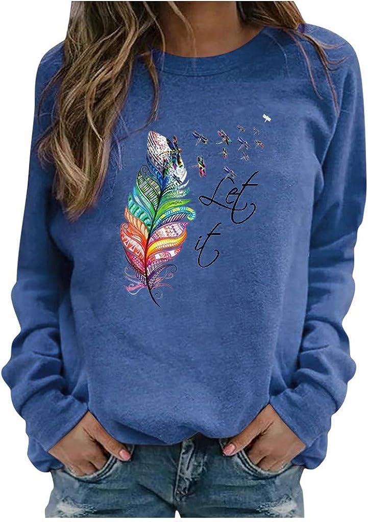 Sweatshirts for Women Crewneck,Women's Feather Print Sweatshirts Thermal Crewneck Long Sleeve T-Shirts Loose Pullover