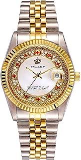 Unisex Elegant Red Crystal Shell Style Dial Gold Gear Bezel Quartz Women Men Waterproof Watch