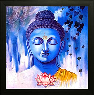 SAF Buddha Painting || buddha painting || Buddha poster || Buddha wall stickers || SAF exclusive Framed Wall Art Paintings for Living room and Bedroom. Frame size (12 inch x 12 inch, (Wood, 30 cm x 3 cm x 30 cm, Special Effect Textured) SAANF7259Z