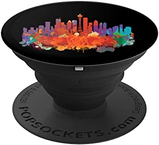 Seattle City Skyline Painting - PopSockets Grip and Stand for Phones and Tablets