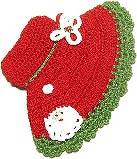 Agarradera sombrero rojo con Papá Noel para Navidad de ganchillo - Tamaño: 12.5 cm x 18 cm H - Handmade - ITALY