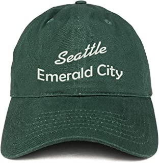 Trendy Apparel Shop Seattle Emerald City Text Embroidered Soft Crown 100% Brushed Cotton Cap