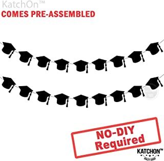 KatchOn Graduation Hat Decorations Garland - Assembled - Black Graduation Party Supplies 2019 - Graduation Party Decorations - Cute and Unique for Table, Mantle | 2 Strands | No DIY | Felt Banner