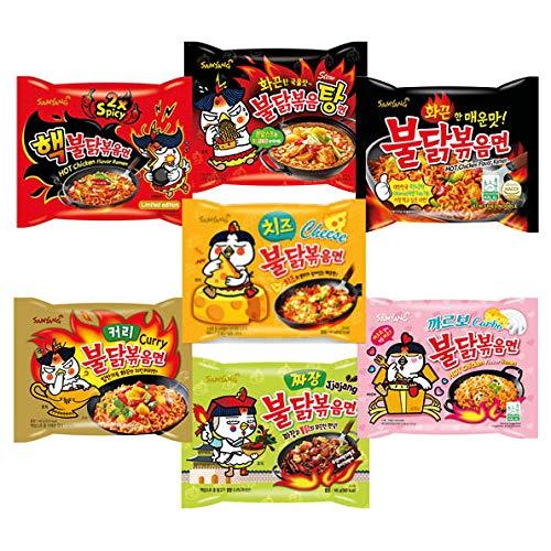 Samyang Probier Box - Set mit 7 verschiedenen koreanischen Ramen - Hot Chicken Buldak Ramen Geschenkbox