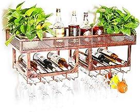 Yxsd Kitchen Storage Organisation Wall-Mounted Wine Racks | Metal Vintage Wall Holder Wine Bottle Holder | Goblet Racks Ba...