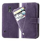 Asuwish Galaxy S5/S5 Neo Wallet Case,Leather Phone Cases with Credit Card Holder Rugged Kickstand Stand Flip Folio Magnetic Protective Cover for Samsung GalaxyS5 S 5 S V I9600 Women Girls Men Purple