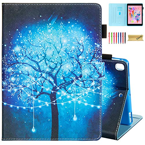 Dteck Case for Apple iPad Pro (9.7 Inch, 2016 Release, Model Number A1673 A1674 A1675) - Protective Leather Smart Stand Wallet Flip Cute Cover Case with Auto Sleep Wake/Stylus Pen (Blue Light Tree)