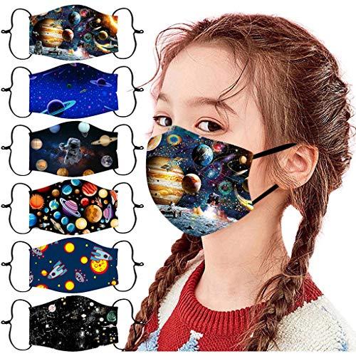 6PC Kinder Mundschutz,Sternenklarer Himmel Face Cover Einstellbare Gesichts Waschbar Mundbedeckung Mehrweg Atmungsaktiv Stoff Bandana Halstuch Tuch, Mund und Nasenschutz Junge Mädchen