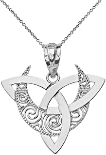 CaliRoseJewelry 10k Gold Crescent Moon Celtic Triquetra Trinity Knot Pendant Necklace