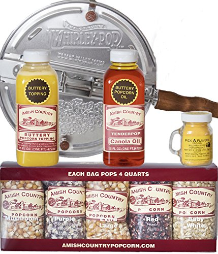 Amish Country Popcorn | 6 Quart Whirley Pop Stovetop Popcorn Gift Set | Old Fashioned with Recipe Guide