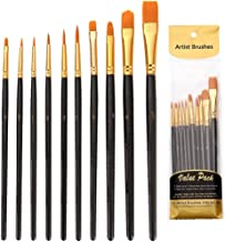 Paint Brushes Set, 10pcs Paintbrushes Flat/Shader Tip for Watercolor, Oil, Acrylic Painting and Craft, Nail, Face Paint (B...
