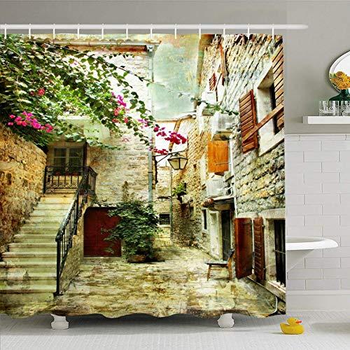N/A Duschvorhang 182,9 x 182,9 cm Wand Stadt Hof, Alte Kroatien Gemälde Ölfarbe Haus Brücke Design wasserdichte Polyester Stoff Badezimmer Vorhänge Set mit Haken