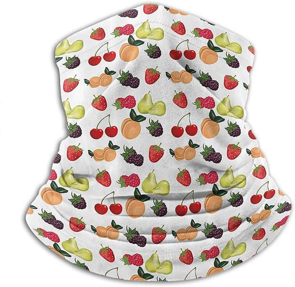 Neck Gaiter Women Fruit Ski Tube Scarf Fresh Natural Themed Pears Cherries Grapes Peach Berry Strawberries Artwork Image Multicolor