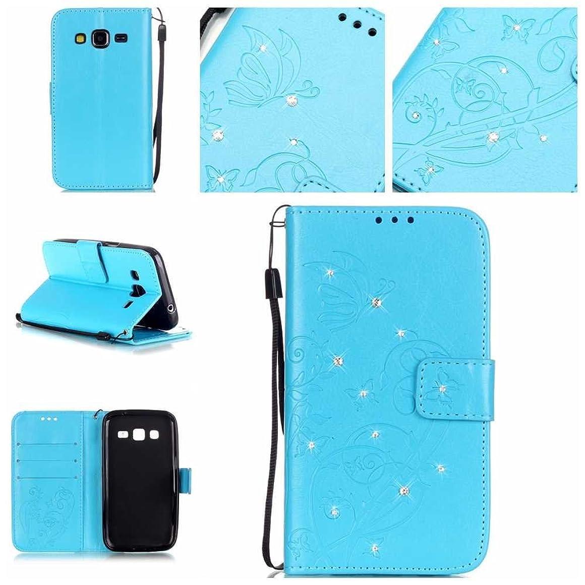 パワー素子おとなしいSamsung Galaxy Core Prime ケース OMATENTI 手帳型 財布型 マグネット式 PUレザー スタンド機能 カードホルダ付き 衝撃吸収 耐衝撃 保護カバー (7-ブルー)