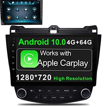 GOKKCL 10.1 Inch Android 10.0 Car Stereo Radio Player Supports CarPlay & Android Auto 4G Ram 64G ROM 1280x720 IPS Screen GPS Navigation Bluetooth WiFi in-Dash Head Unit for Honda Accord 2003-2007