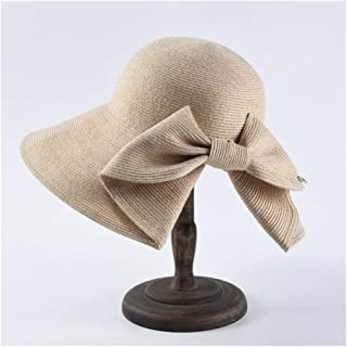 QinMei Zhou Sun hat Female Big Bow Bow hat Collapsible Sun hat Solid Color Wild Travel Beach hat (Color : Beige)