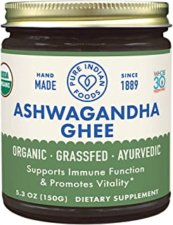 Pure Indian Foods Organic Ashwagandha Ghee, 5.3 oz; Lab-Tested for Lactose, Casein, Gluten, Heavy Metals; Non-GMO, Made in...